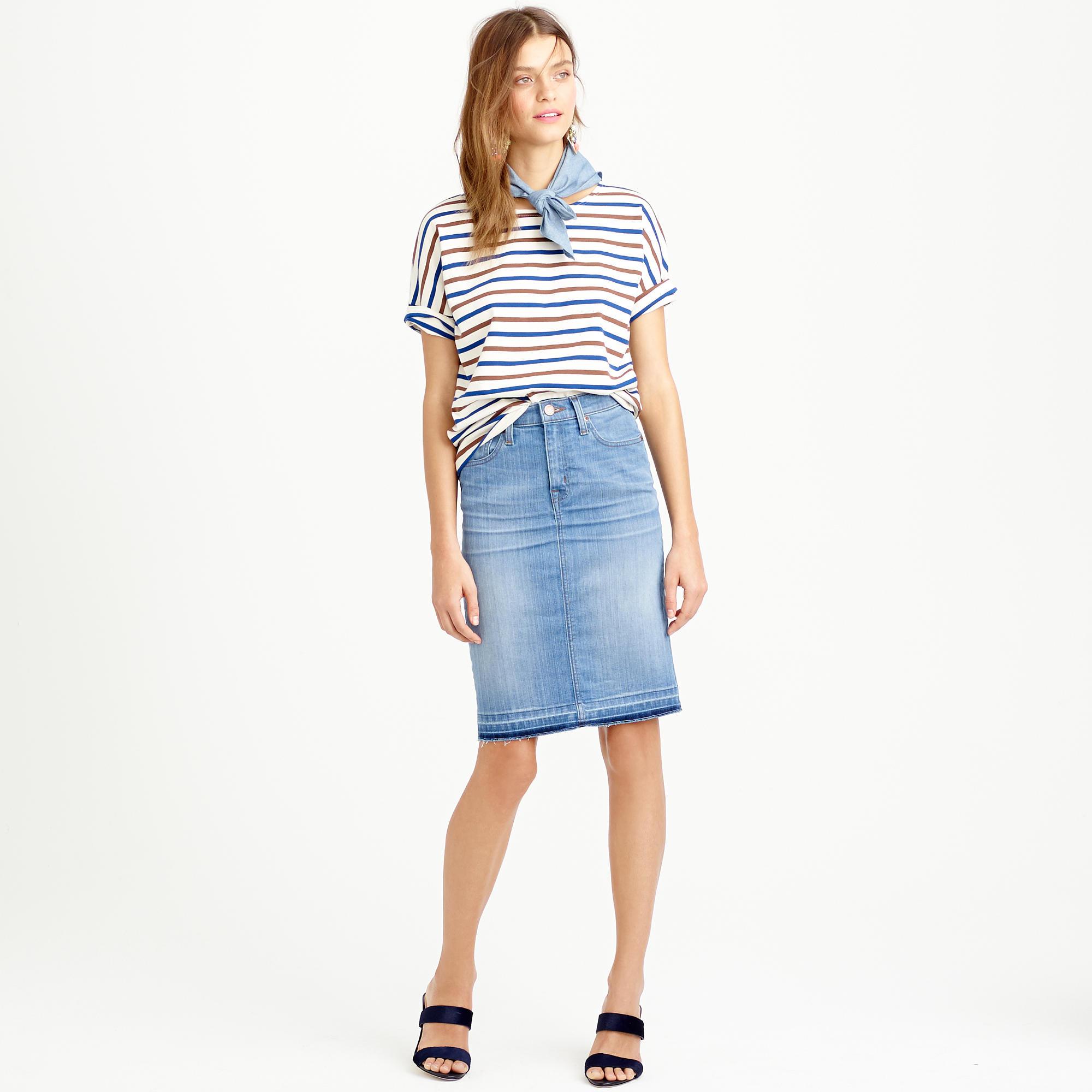 c530e99863 J.Crew Petite Frayed Denim Pencil Skirt in Blue - Lyst