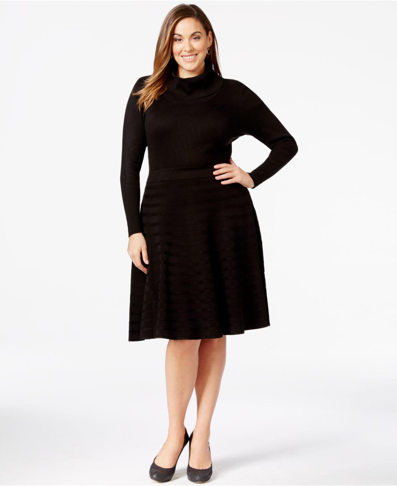 Lyst Calvin Klein Plus Size Turtleneck Sweater Dress In Black