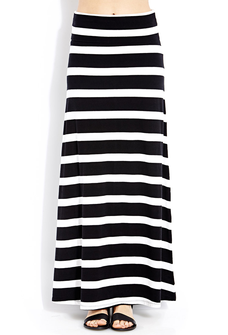 forever 21 favorite fold maxi skirt in black lyst