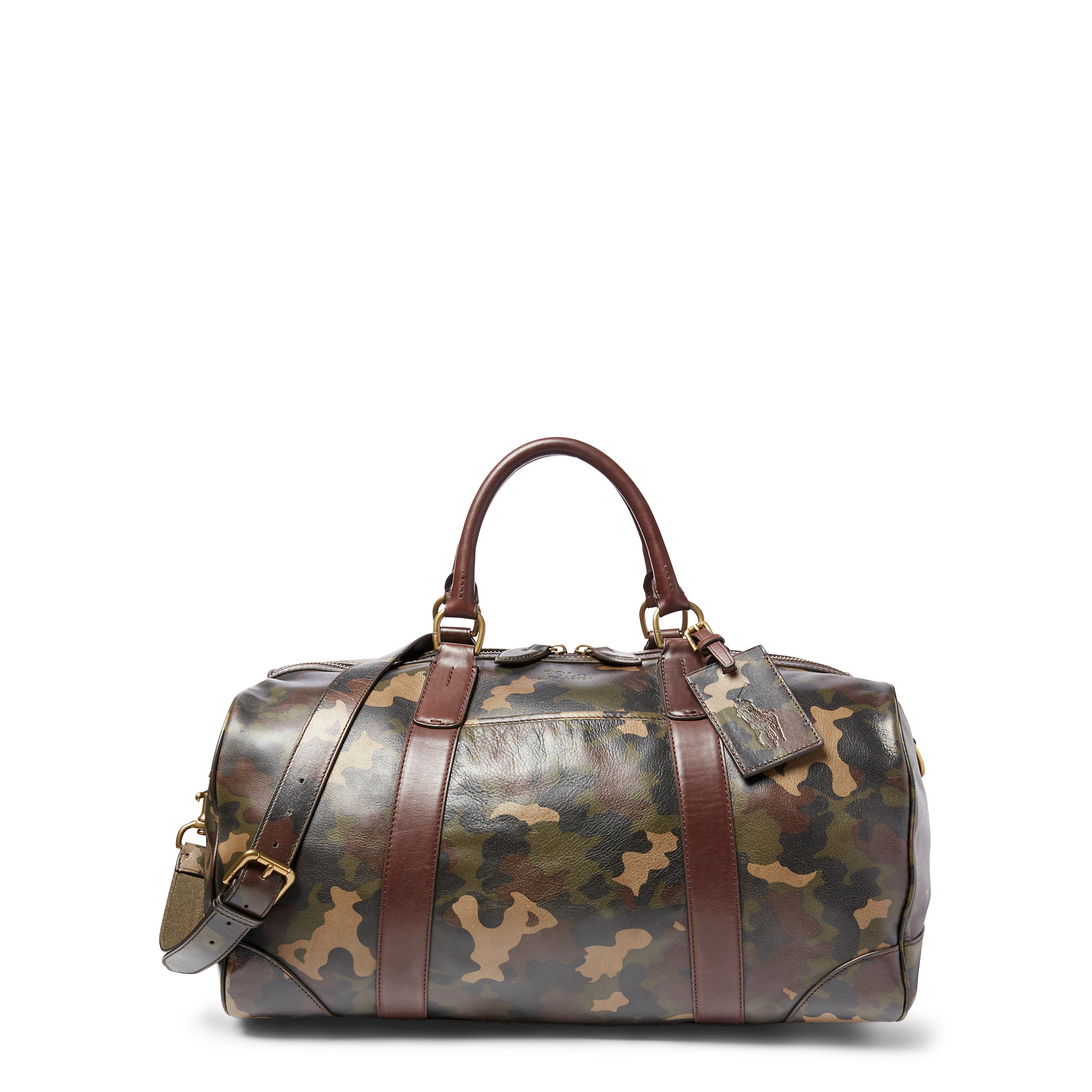7bb6b79f1b5 Lyst - Polo Ralph Lauren Camouflage Leather Duffel Bag in Gray for Men