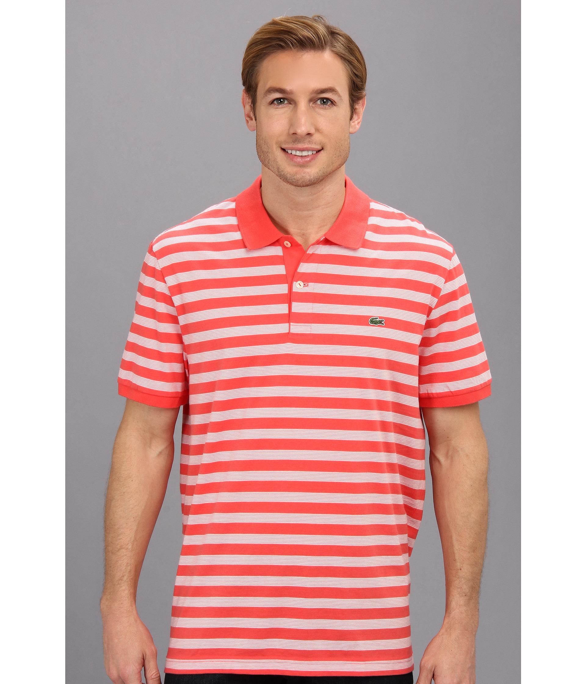 lacoste glc short sleeve jersey stripe polo shirt in pink