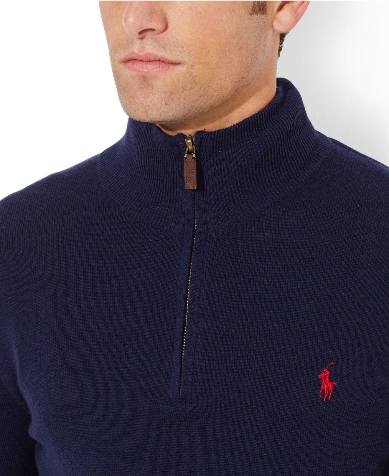 a09256126 Polo Ralph Lauren Merino Wool Half-Zip Sweater in Blue for Men - Lyst