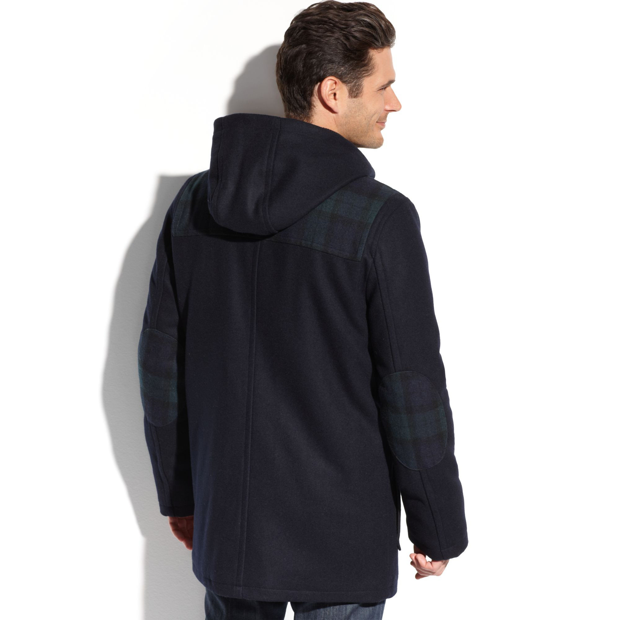 lyst tommy hilfiger melton wool hooded toggle coat in. Black Bedroom Furniture Sets. Home Design Ideas