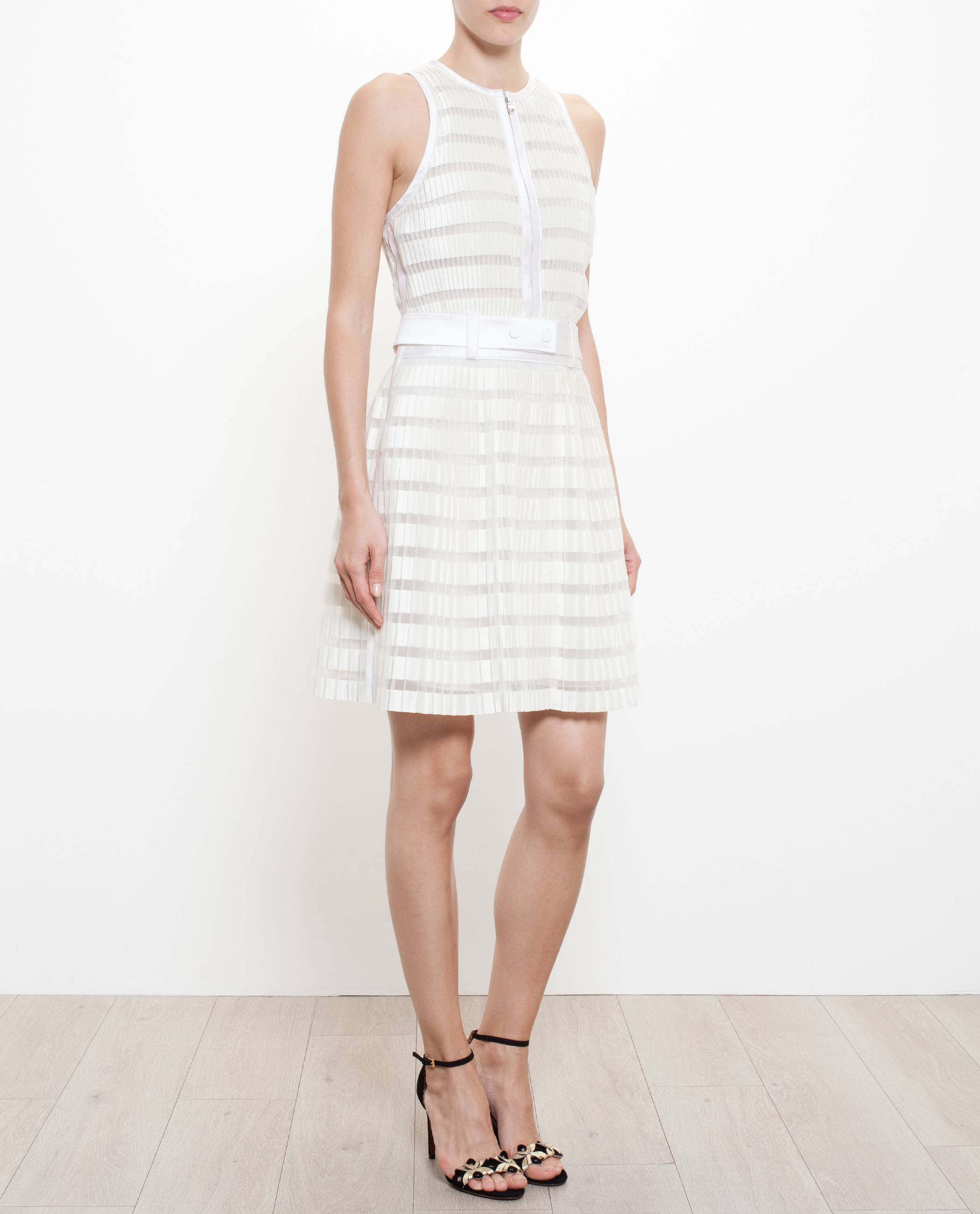 3 1 phillip lim pleated dress with fabric belt in white lyst