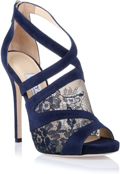 Jimmy Choo Vantage Navy Lace Sandal In Blue Navy Lyst