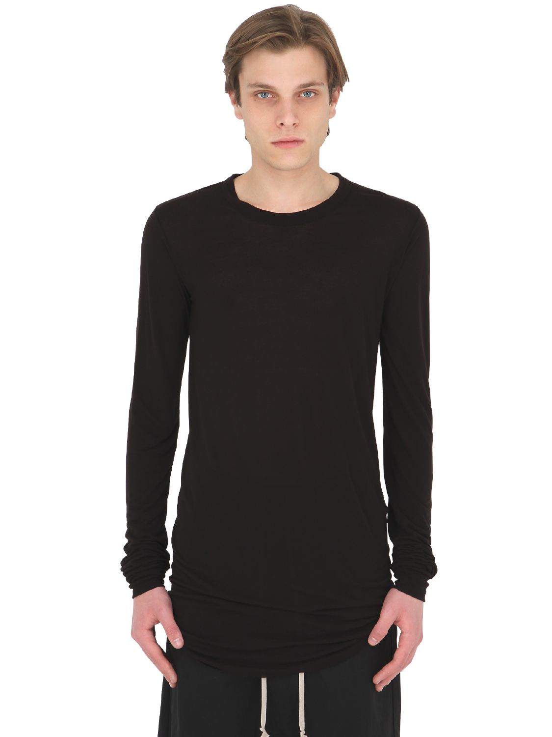 rick owens silk blend jersey long sleeve t shirt in black