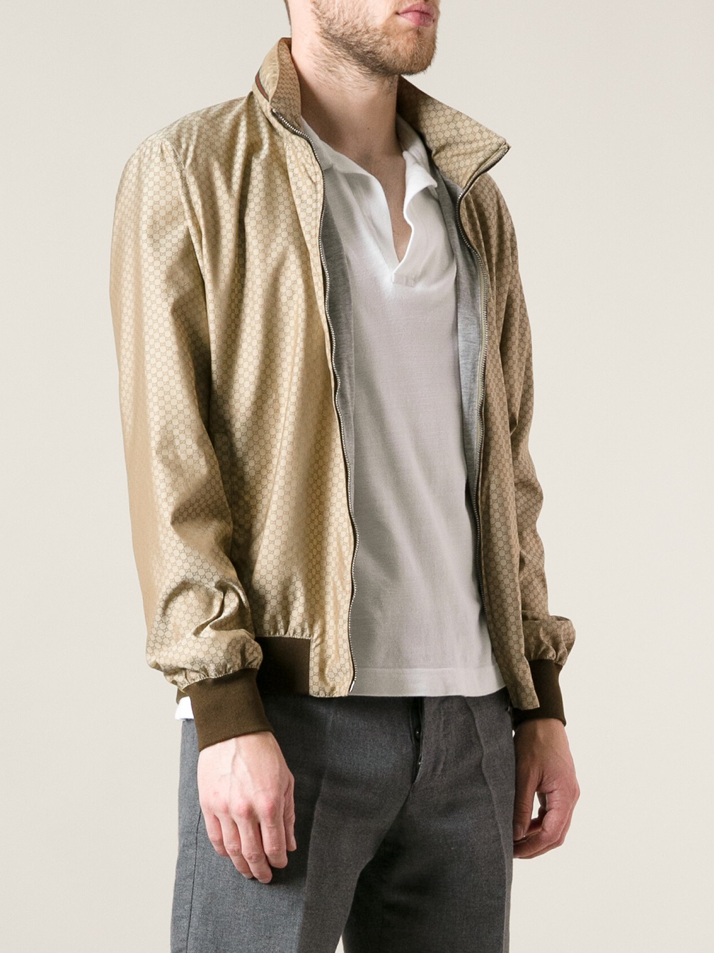 Lyst - Gucci Monogram Bomber Jacket in Brown for Men aad40912e