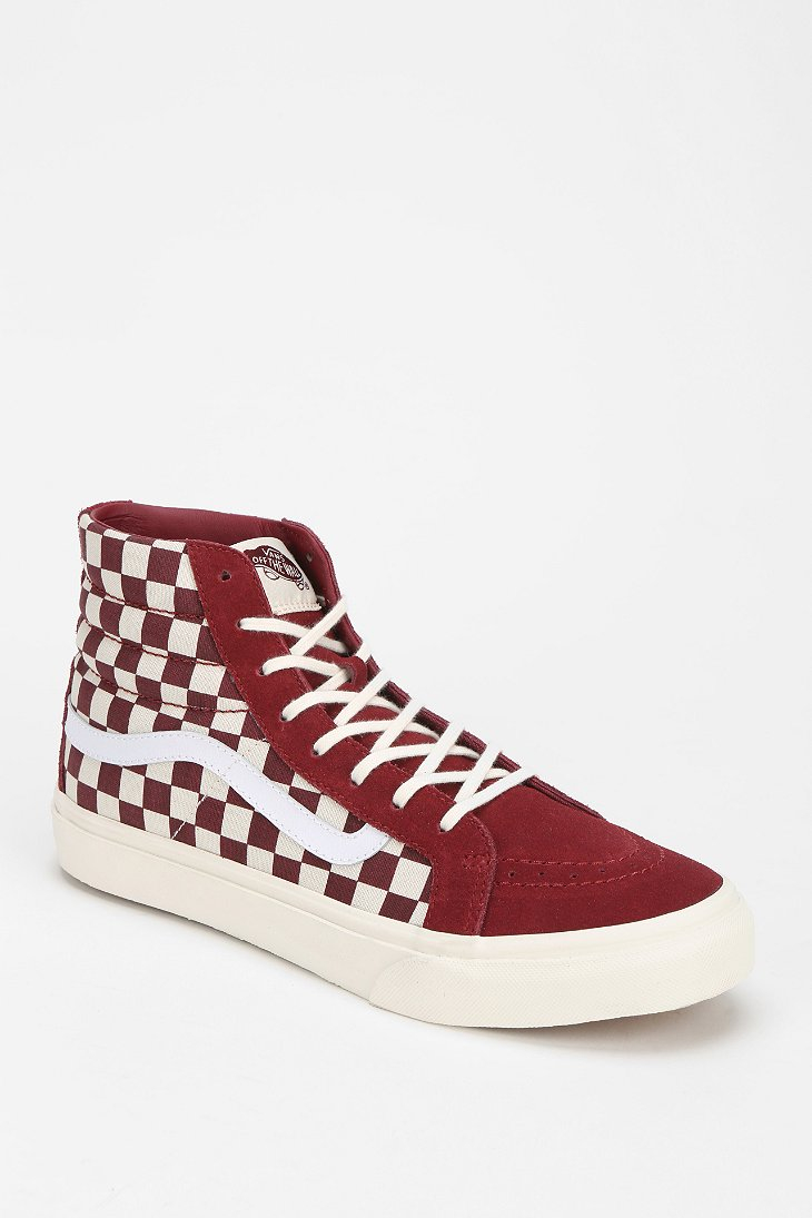 Lyst - Vans Sk8hi Checkered Womens Hightop Sneaker in Red