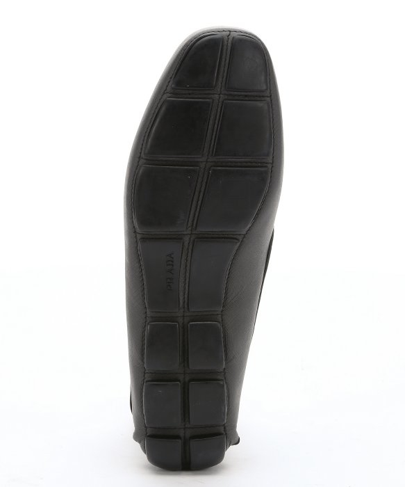 Prada Anthracite Saffiano Leather Driving Loafers in Black for Men ...