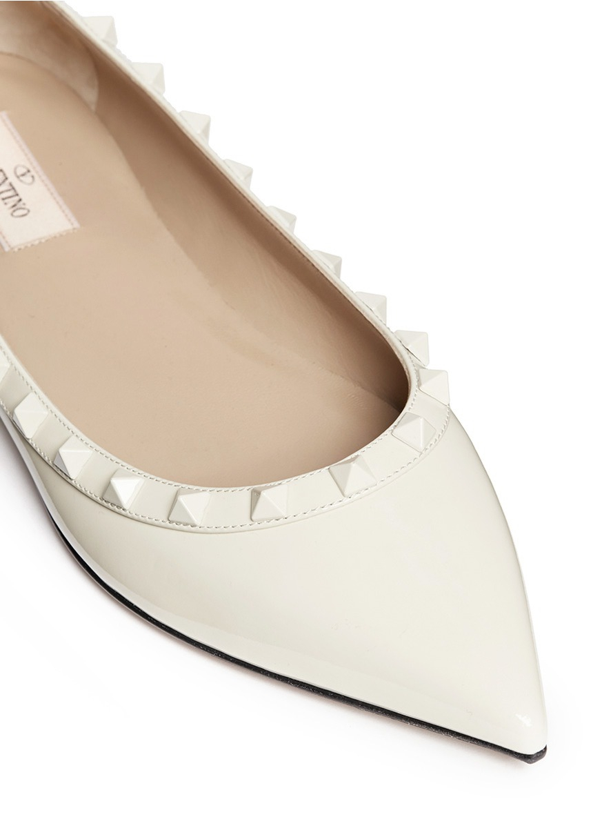 Wedding Table White Flats valentino punkouture rockstud patent leather flats in white lyst gallery