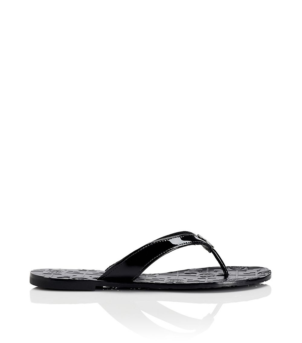 c1c8041f23652 Lyst - Tory Burch Thora Patent Leather Thong Sandal in Black