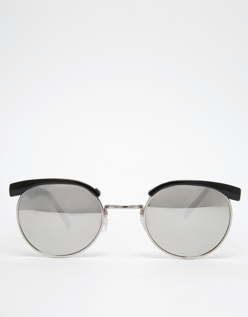 983f62d9b3a Lyst - ASOS Round Retro Sunglasses With Mirrored Lens In Black in ...
