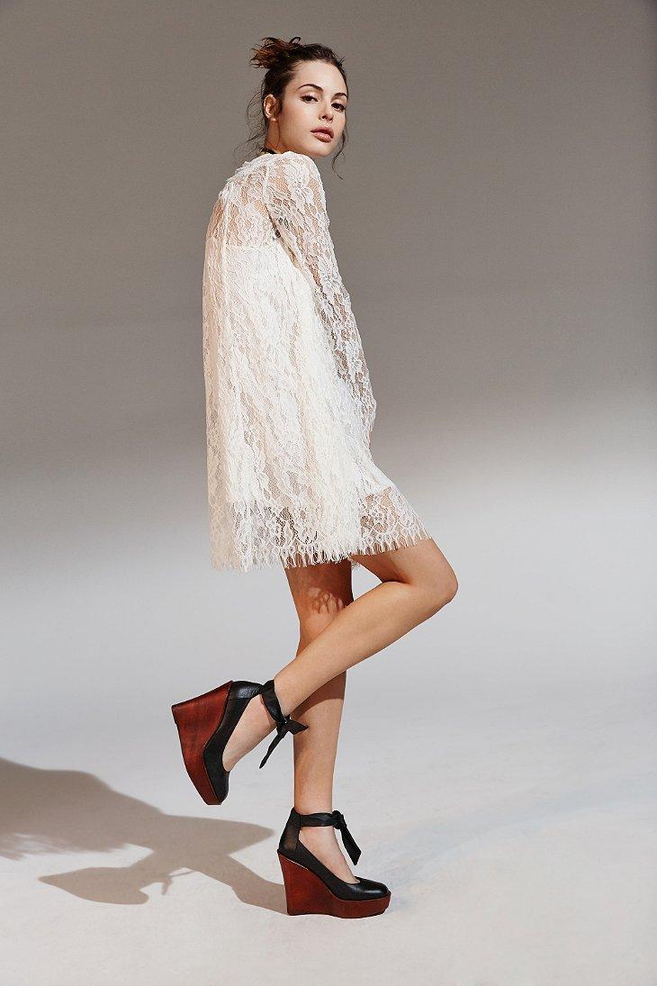 lyst kimchi blue longsleeve lace trapeze dress in white