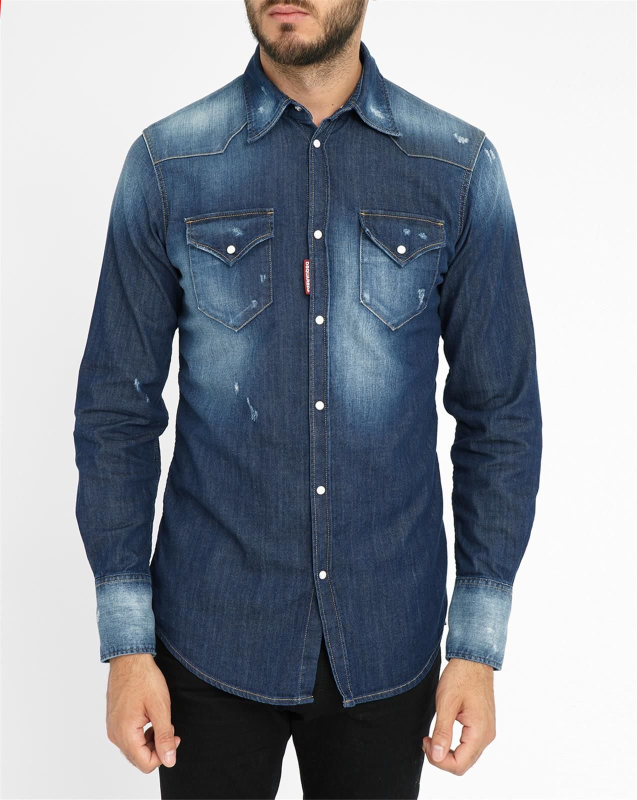 dsquared stone washed western denim shirt in blue for men