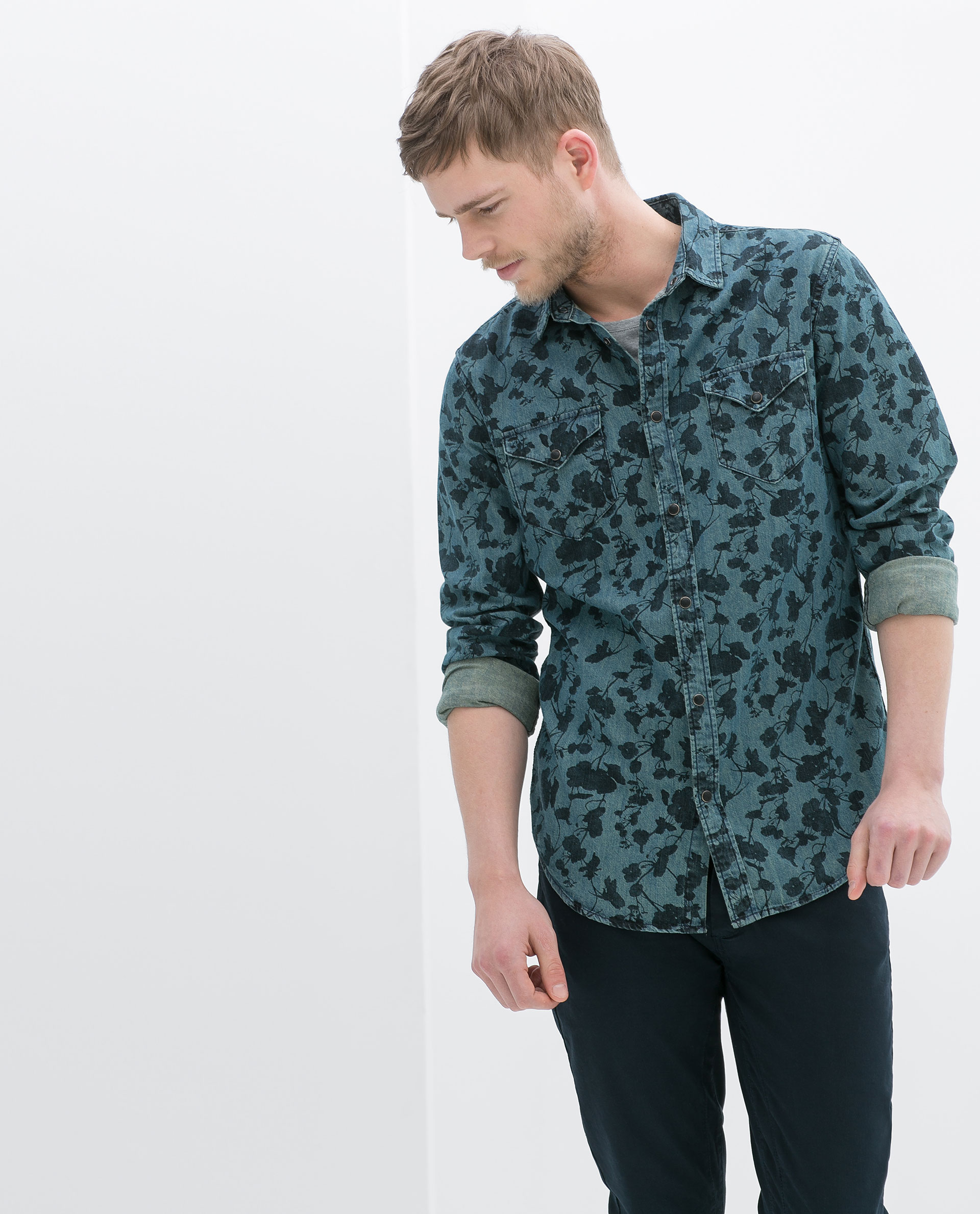 Zara floral print denim shirt in green for men lyst for Printed shirts for men