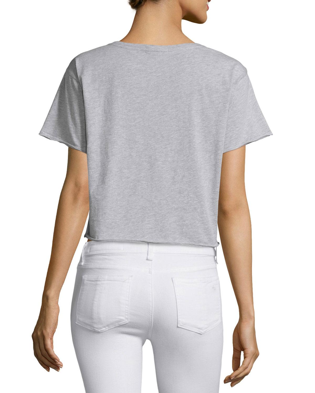 Rag bone x boyfriend graphic cropped t shirt in gray lyst for Rag bone shirt