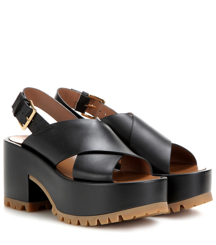 marni leather platform sandals in black lyst