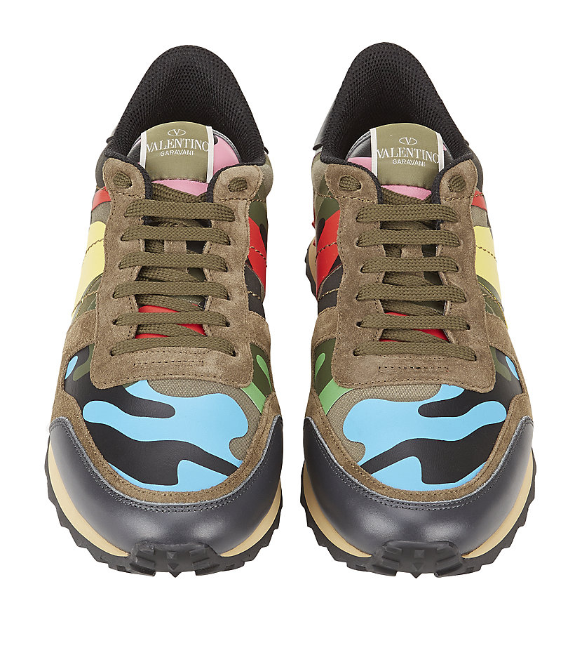 Valentino Studded Psycho Camo Trainer In Green For Men Lyst