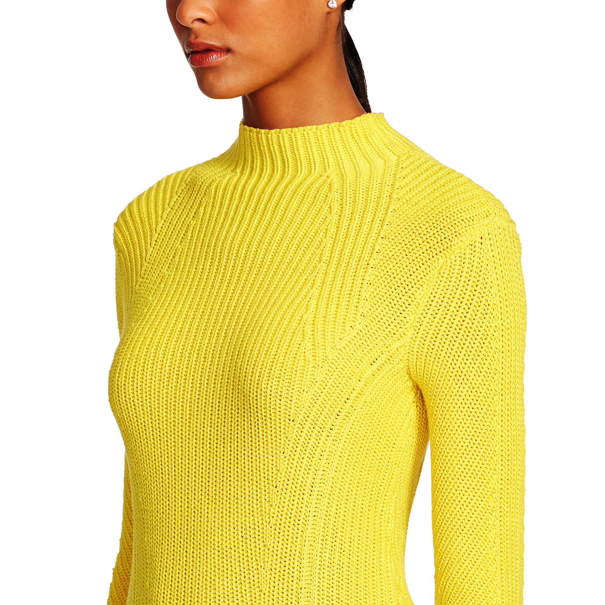 Ralph lauren black label Cotton-silk Mockneck Sweater in Yellow | Lyst