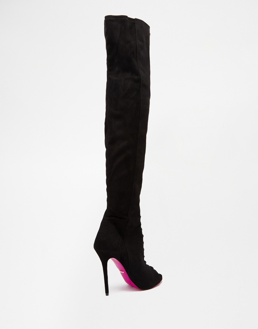 Carvela kurt geiger Glenda Stiletto Suedette Over The Knee Peep ...