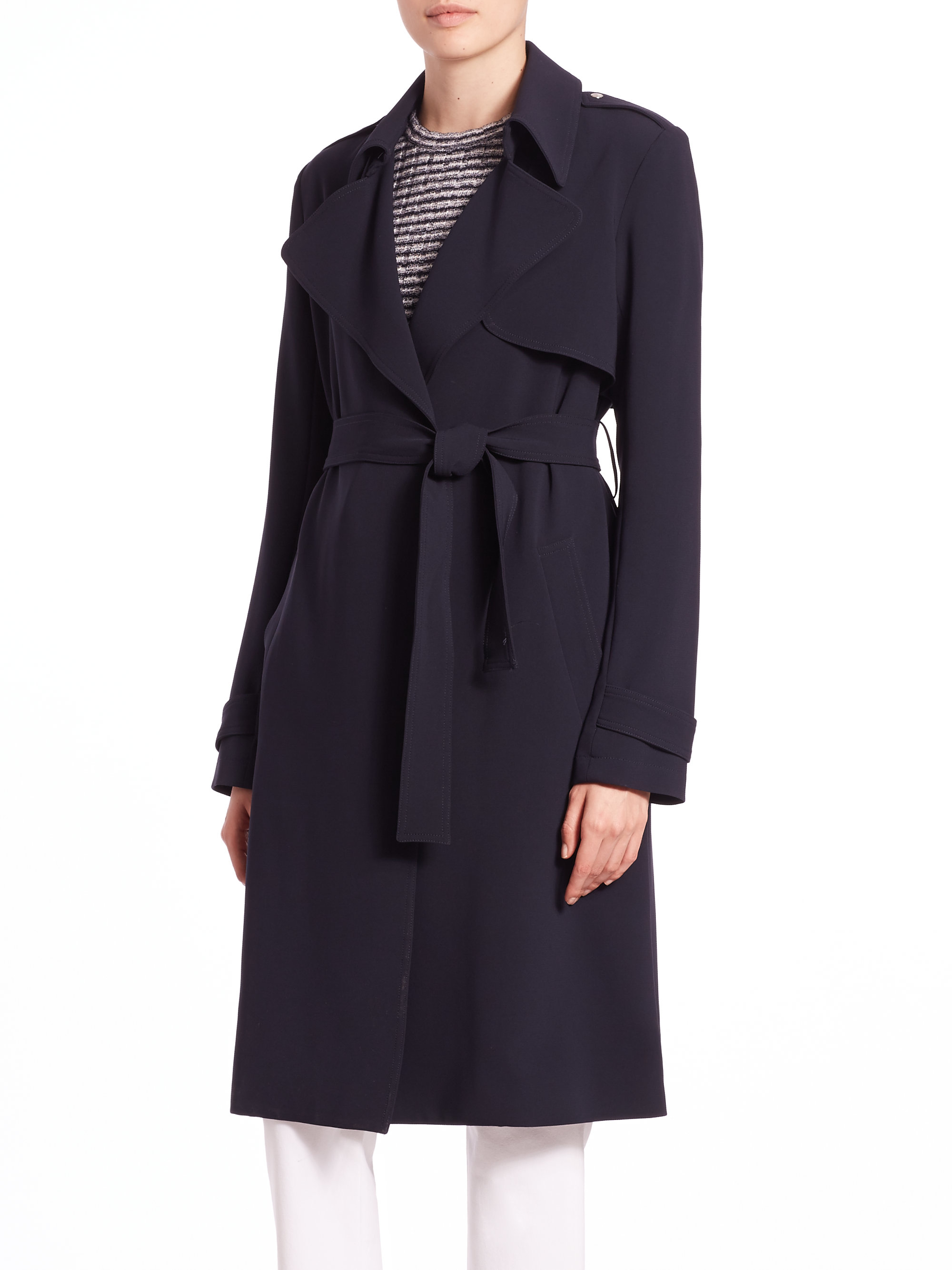 85f7626178 Theory Oaklane B Trench Coat in Blue - Lyst