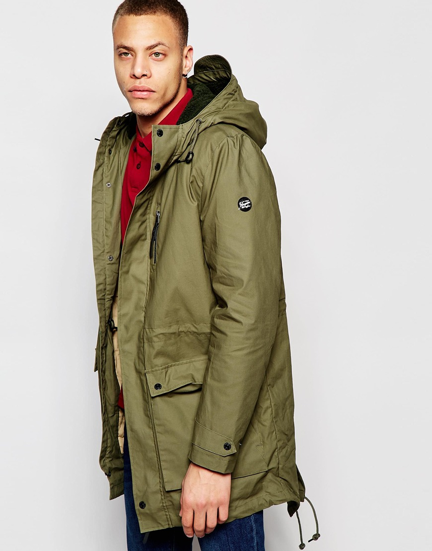 Original penguin Hooded Parka Jacket in Green for Men | Lyst