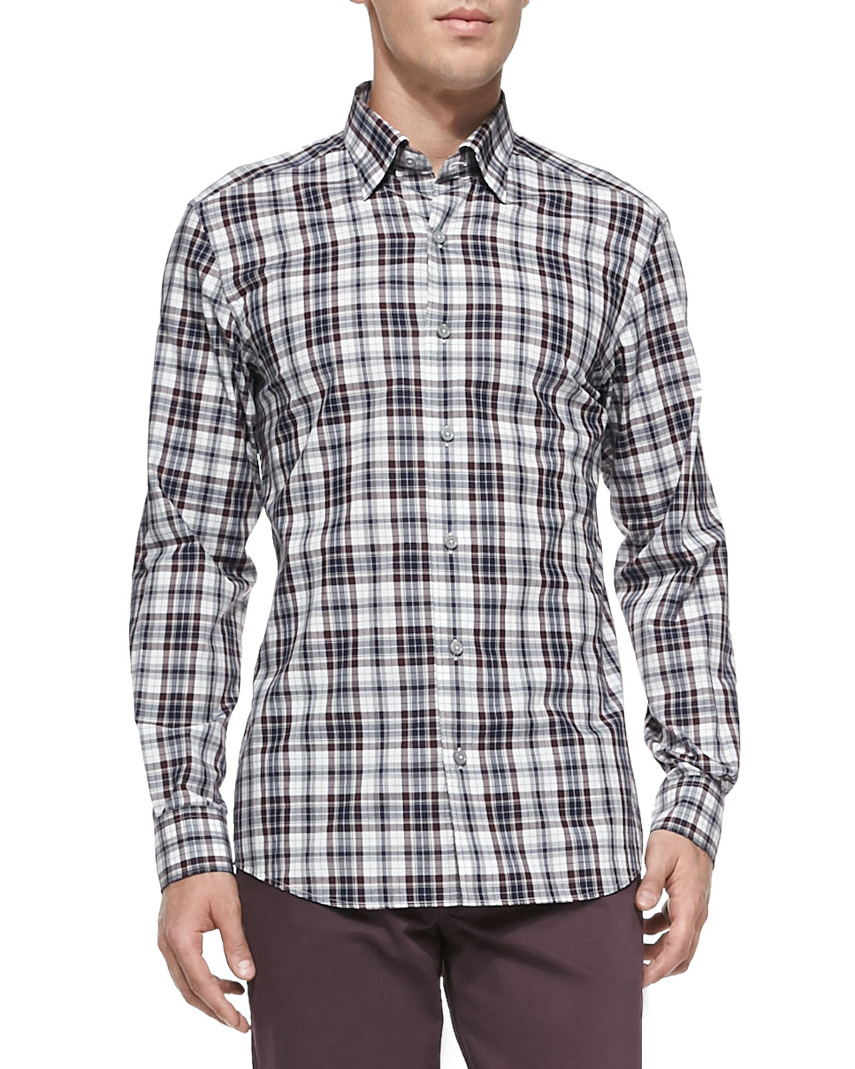 Ermenegildo Zegna Plaid Button Down Shirt In Purple For