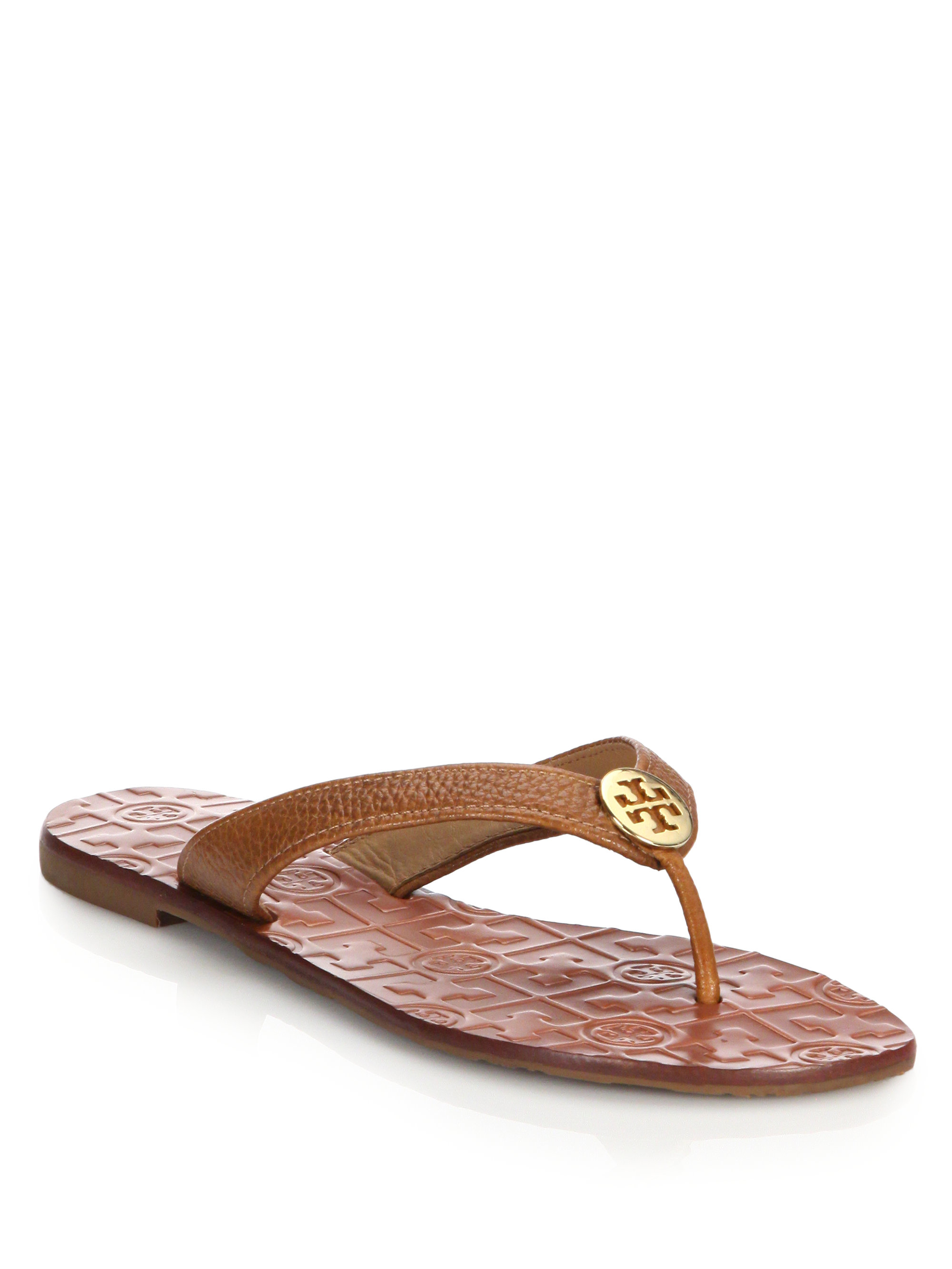 tory burch thora tumbled leather thong sandals in brown lyst. Black Bedroom Furniture Sets. Home Design Ideas