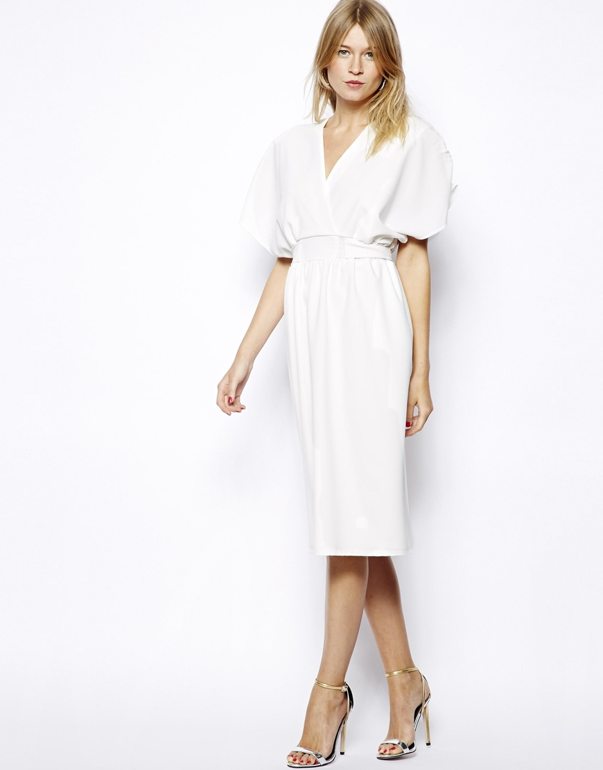 Lyst Love Kimono Midi Dress With Tie Waist In White