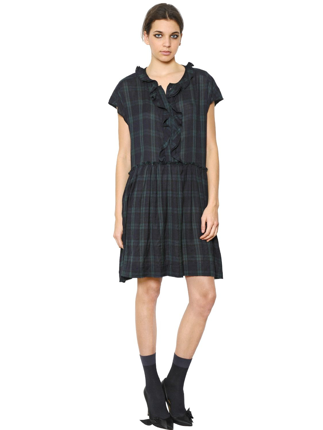 Etoile Isabel Marant Ruffle Plaid Cotton Flannel Dress In