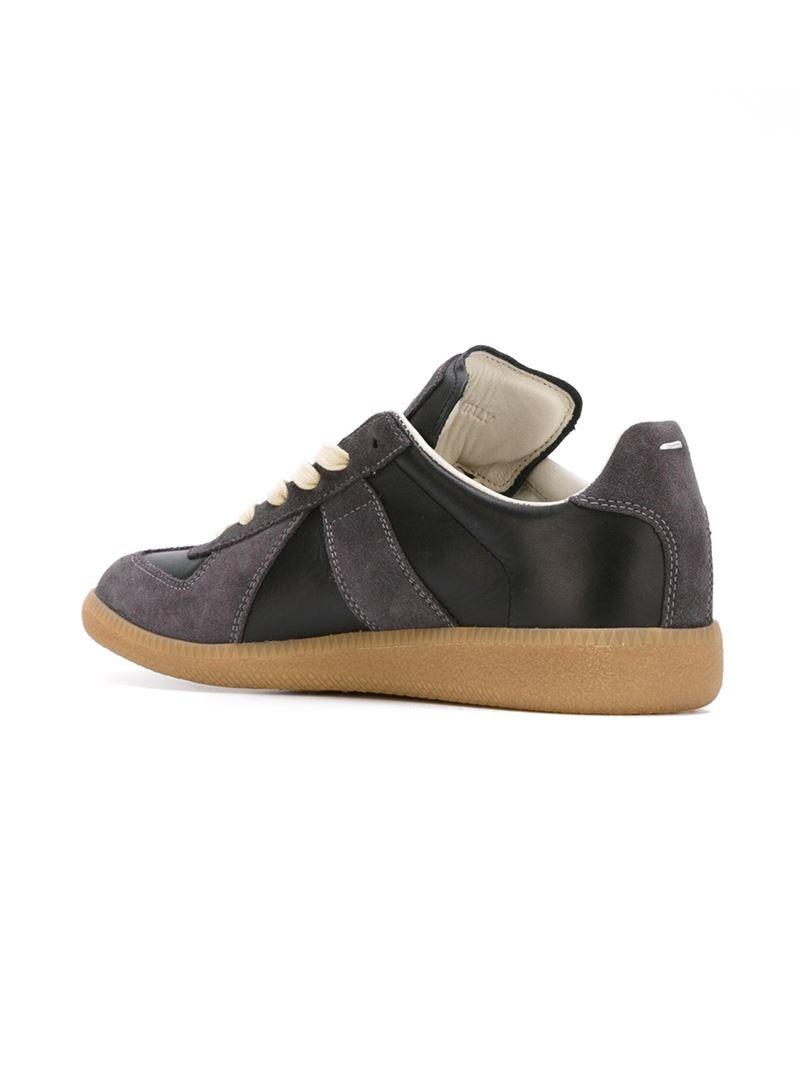 maison margiela black geometric paneled sneakers lyst. Black Bedroom Furniture Sets. Home Design Ideas