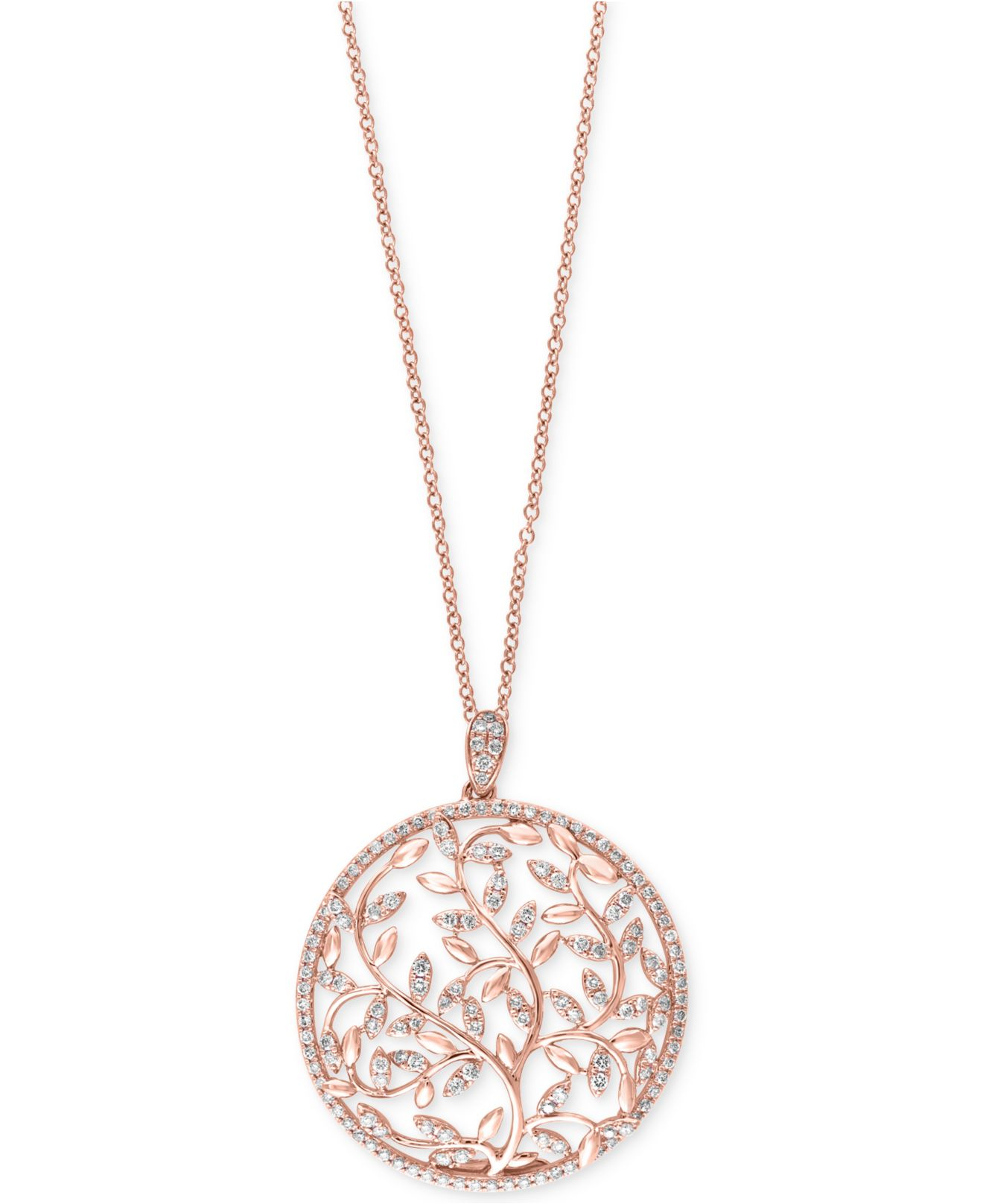 Lyst Effy Collection Diamond Vine Pendant Necklace 9 10