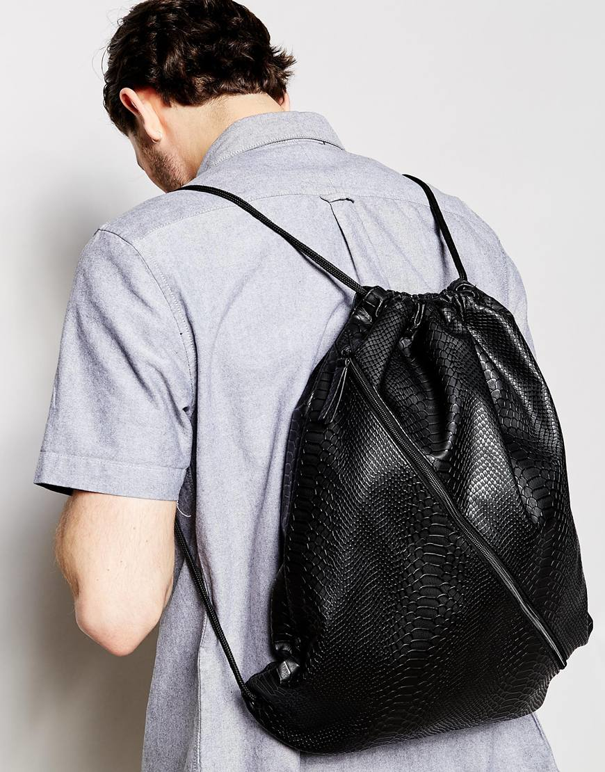 Asos Drawstring Backpack In Black Faux Leather With