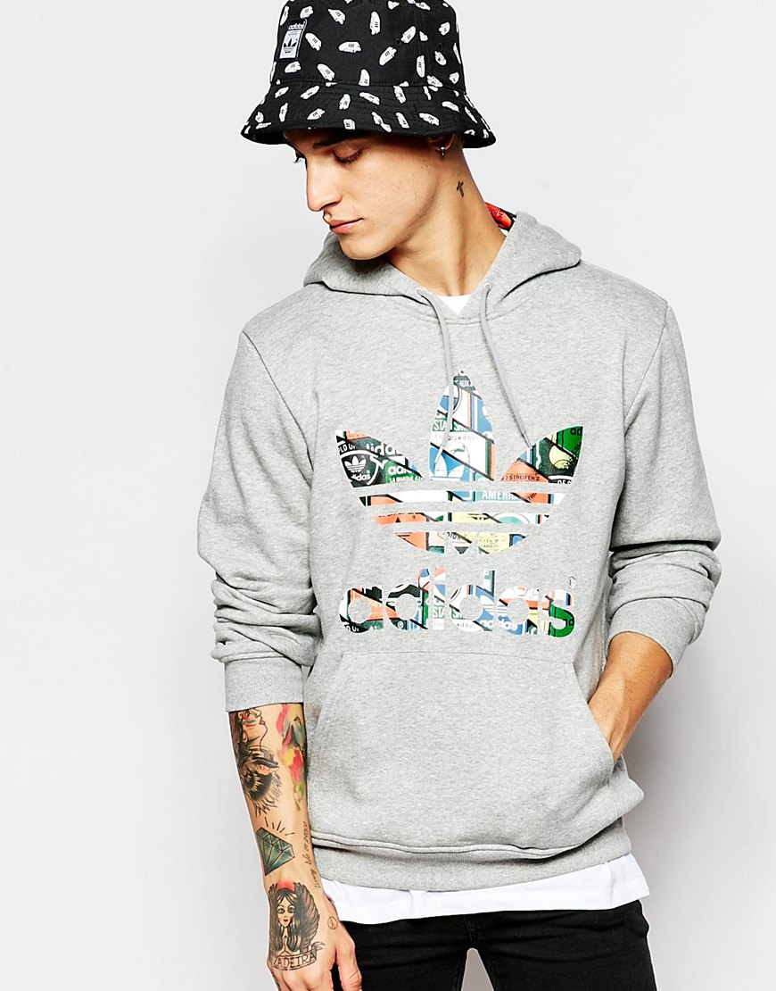 hot sale online 07092 517cf Lyst - adidas Originals Hoodie With Printed Trefoil Ac0486 in Gray ...