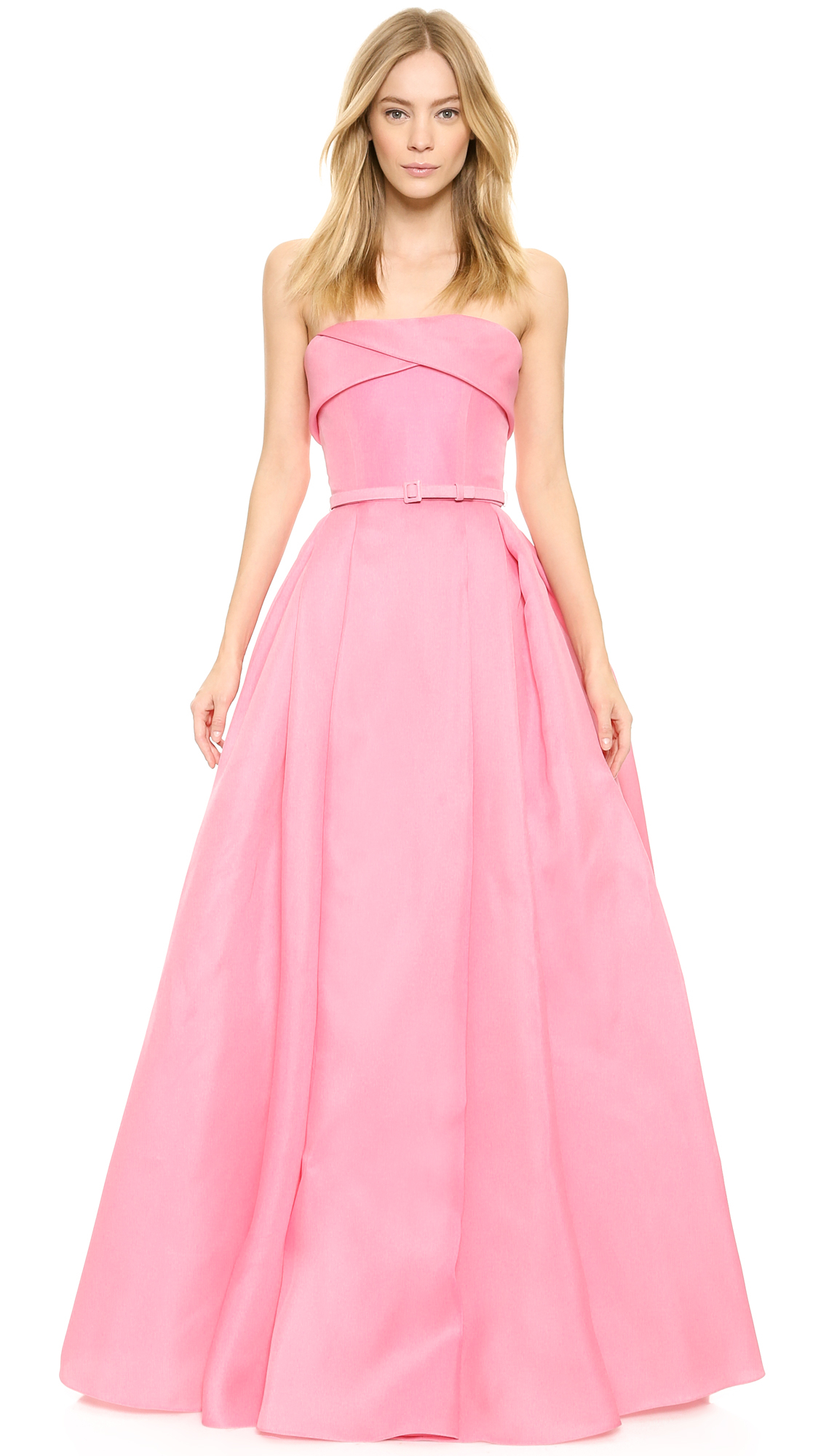 8e8a17b886 Reem Acra Pleated Ball Gown With Belt - Pink in Pink - Lyst