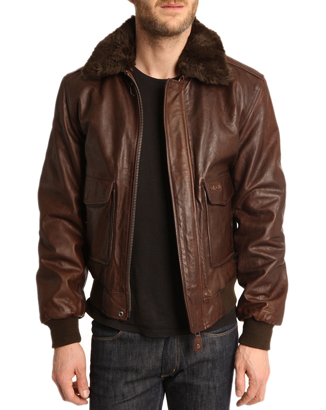 schott nyc flight brown jacket with removable collar in brown for men lyst. Black Bedroom Furniture Sets. Home Design Ideas