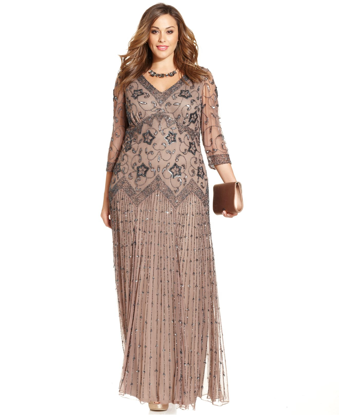 Lyst - Pisarro Nights Plus Size Three-Quarter-Sleeve Beaded Gown in ...