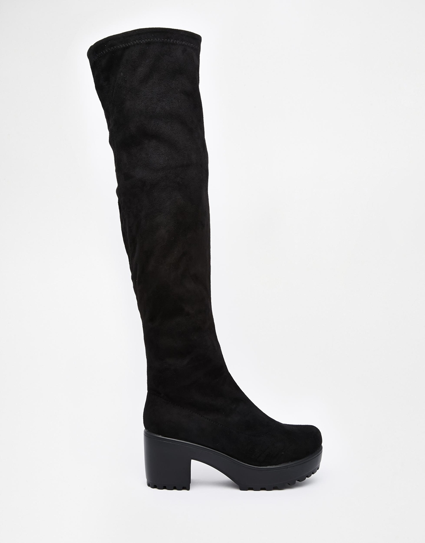 Daisy street Black Chunky Heeled Over The Knee Boots in Black | Lyst