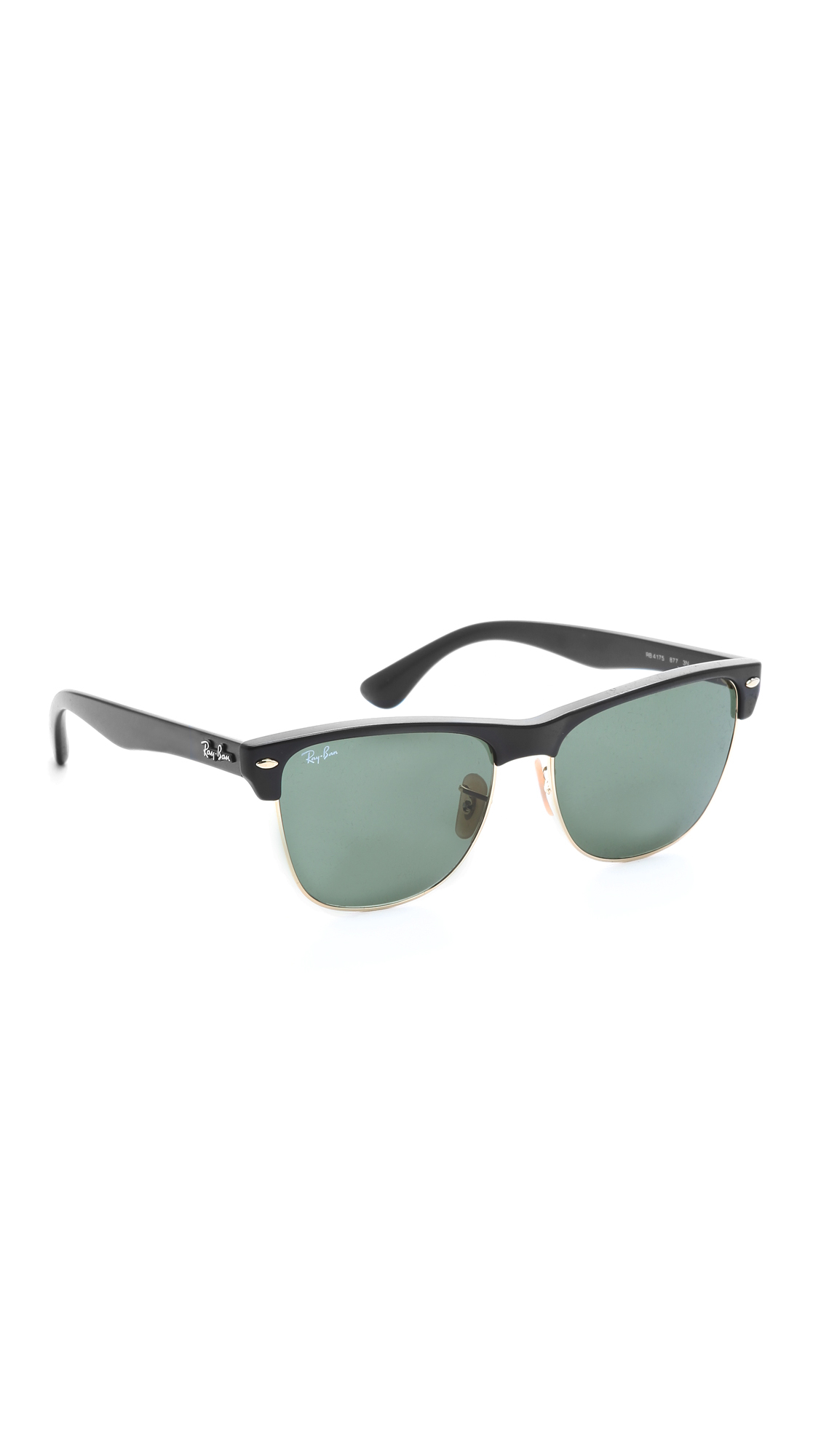 ray ban oversized clubmaster sunglasses black crystal green in black black crystal green lyst. Black Bedroom Furniture Sets. Home Design Ideas