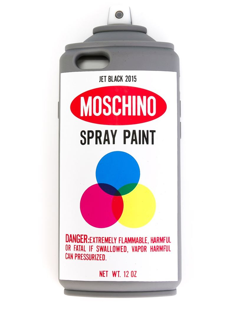 Moschino spray print can iphone 6 cover in white lyst for Spray paint iphone case