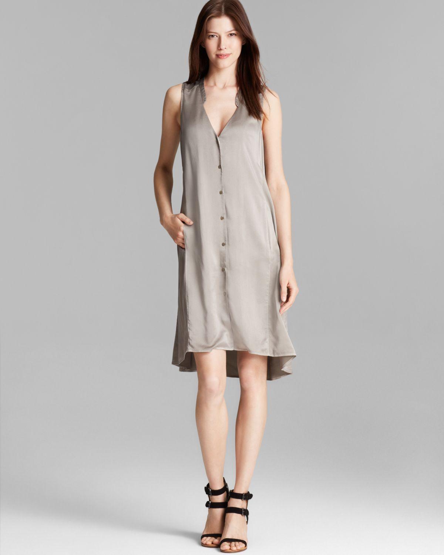 Lyst Eileen Fisher Silk Shirt Dress In Gray