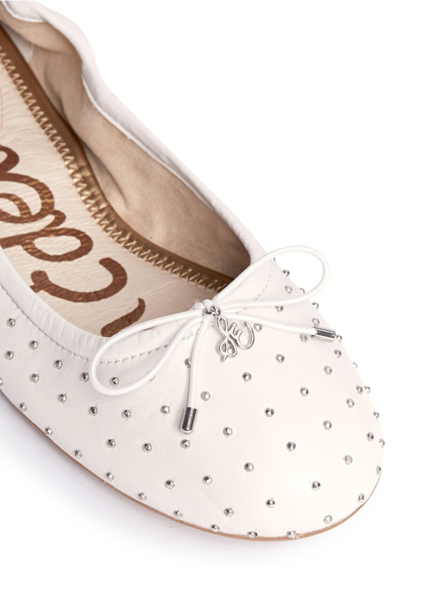 e22e3d4aa82a4 Lyst - Sam Edelman Frankie Studded Leather Flats in White