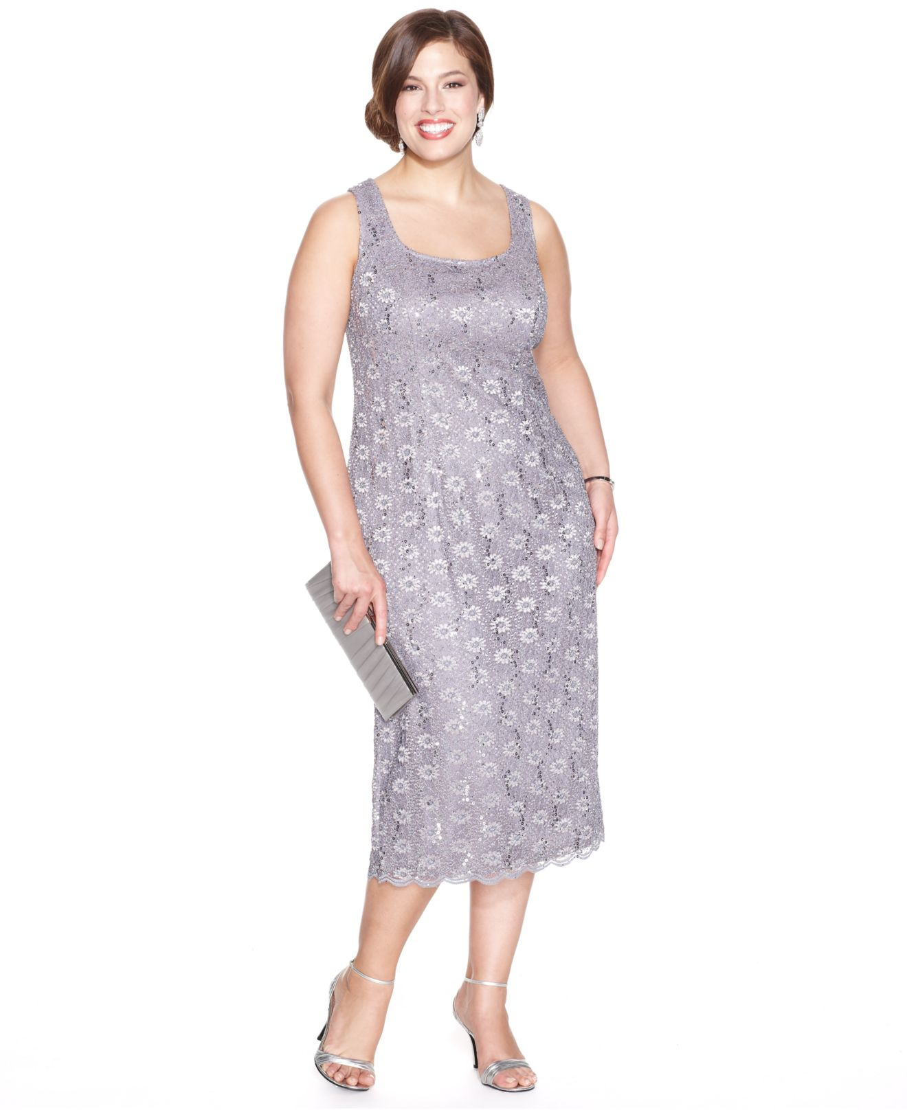 09237b1f15d Lyst - Alex Evenings Plus Size Sequin Lace Dress And Jacket in Gray