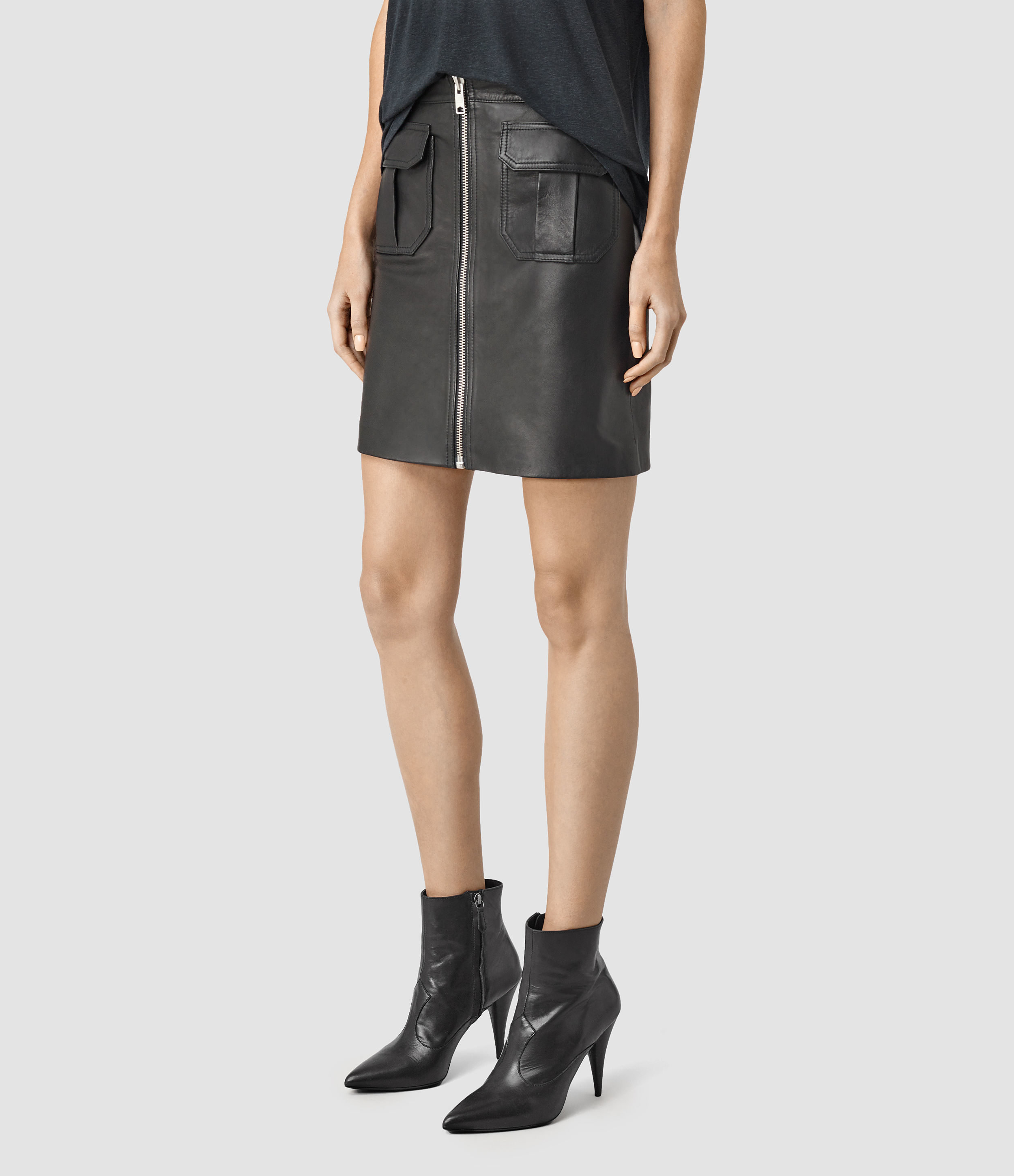 allsaints leather skirt usa usa in black lyst
