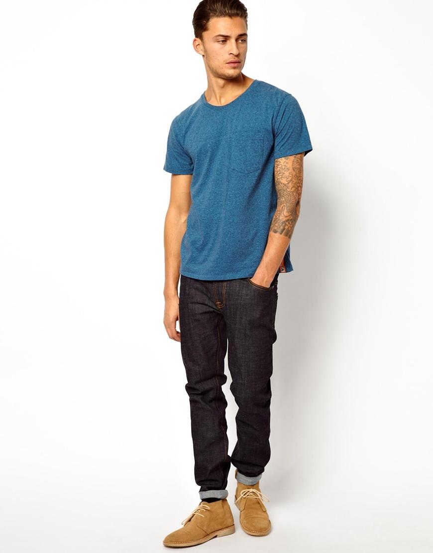 Nudie jeans Nudie Tshirt One Pocket Organic Melange in Blue for Men | Lyst