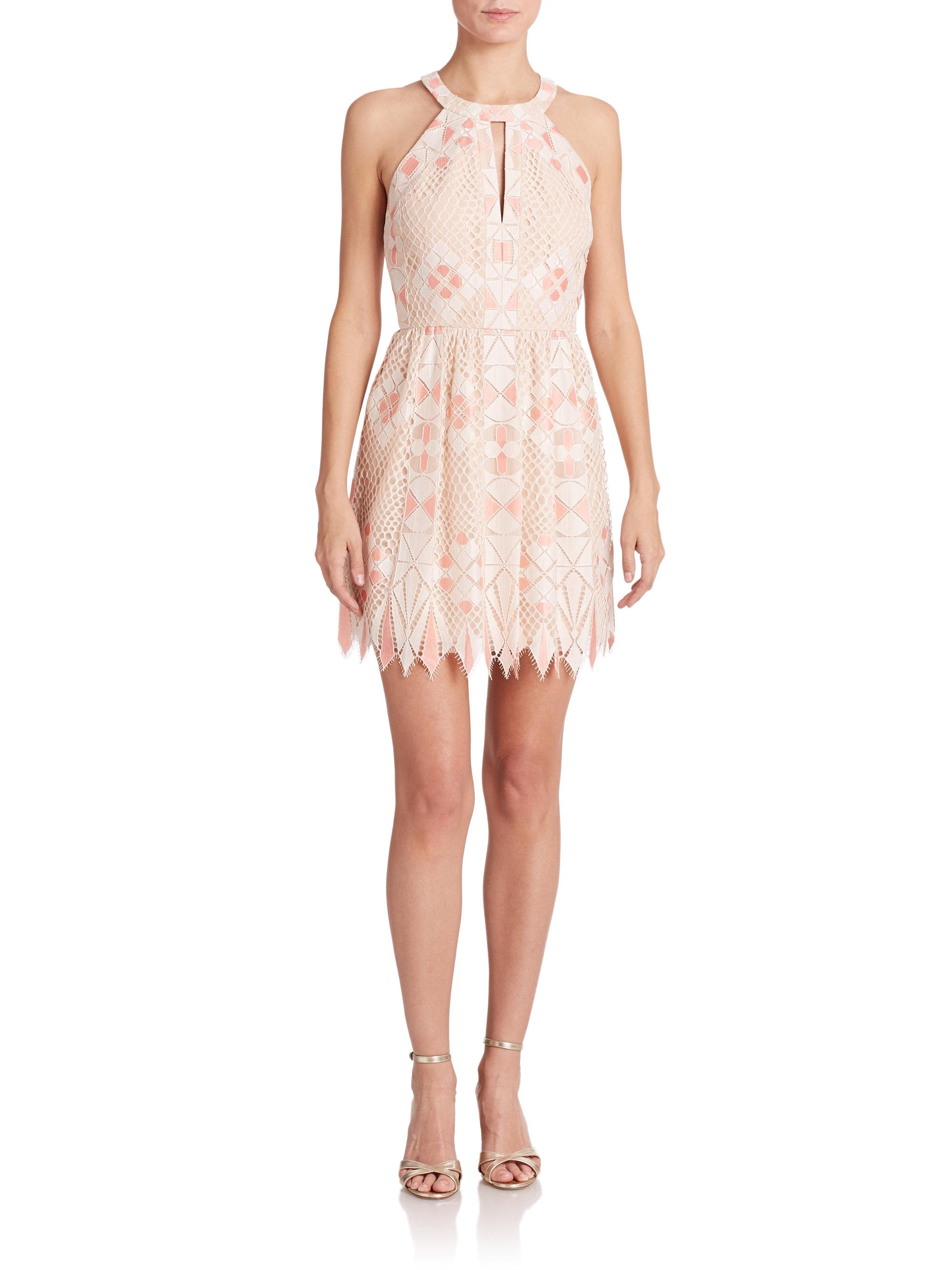 Bcbgmaxazria Carlita Scalloped-lace Halter Dress in White | Lyst