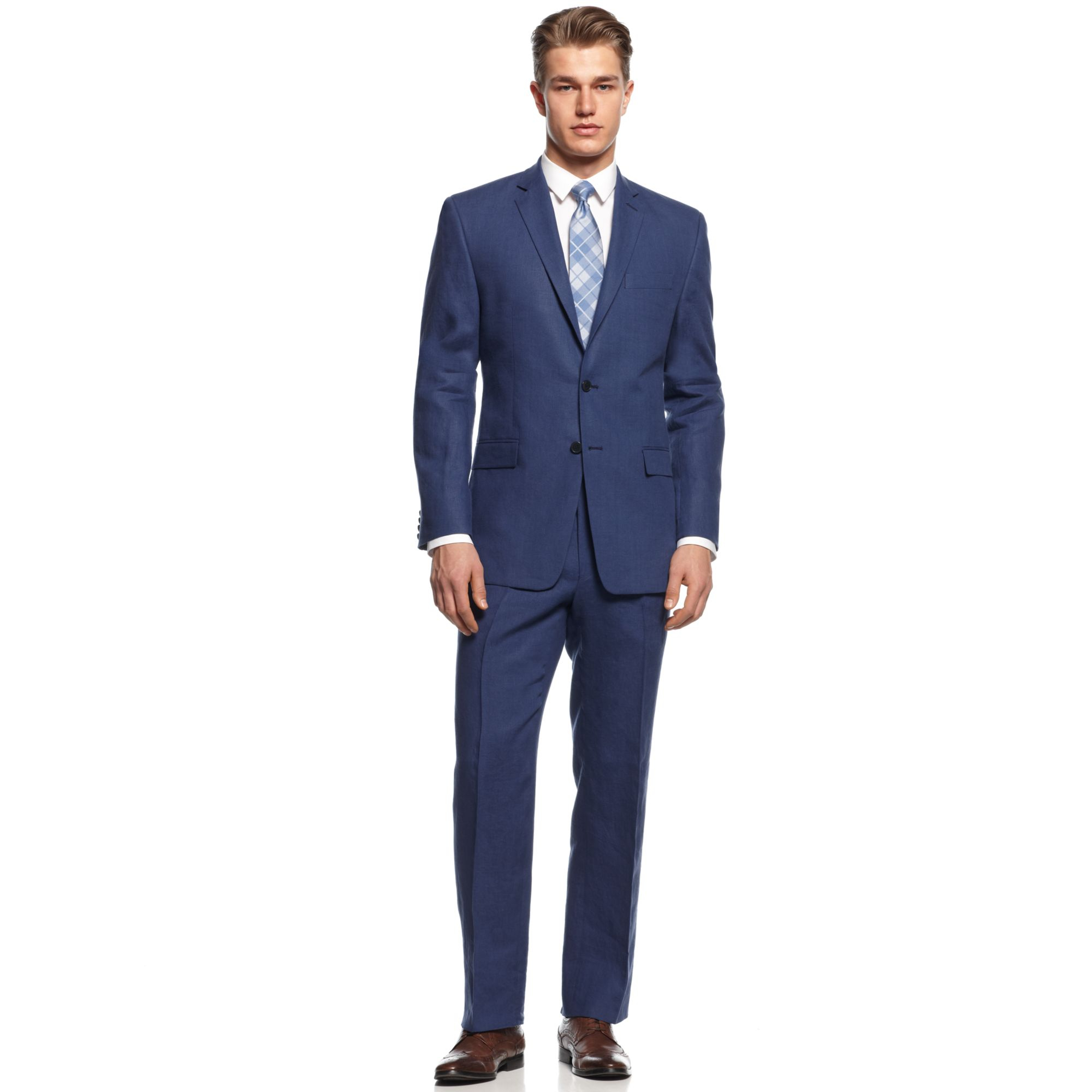 Calvin Klein Suit Blue Linen Slim Fit Big And Tall In Blue