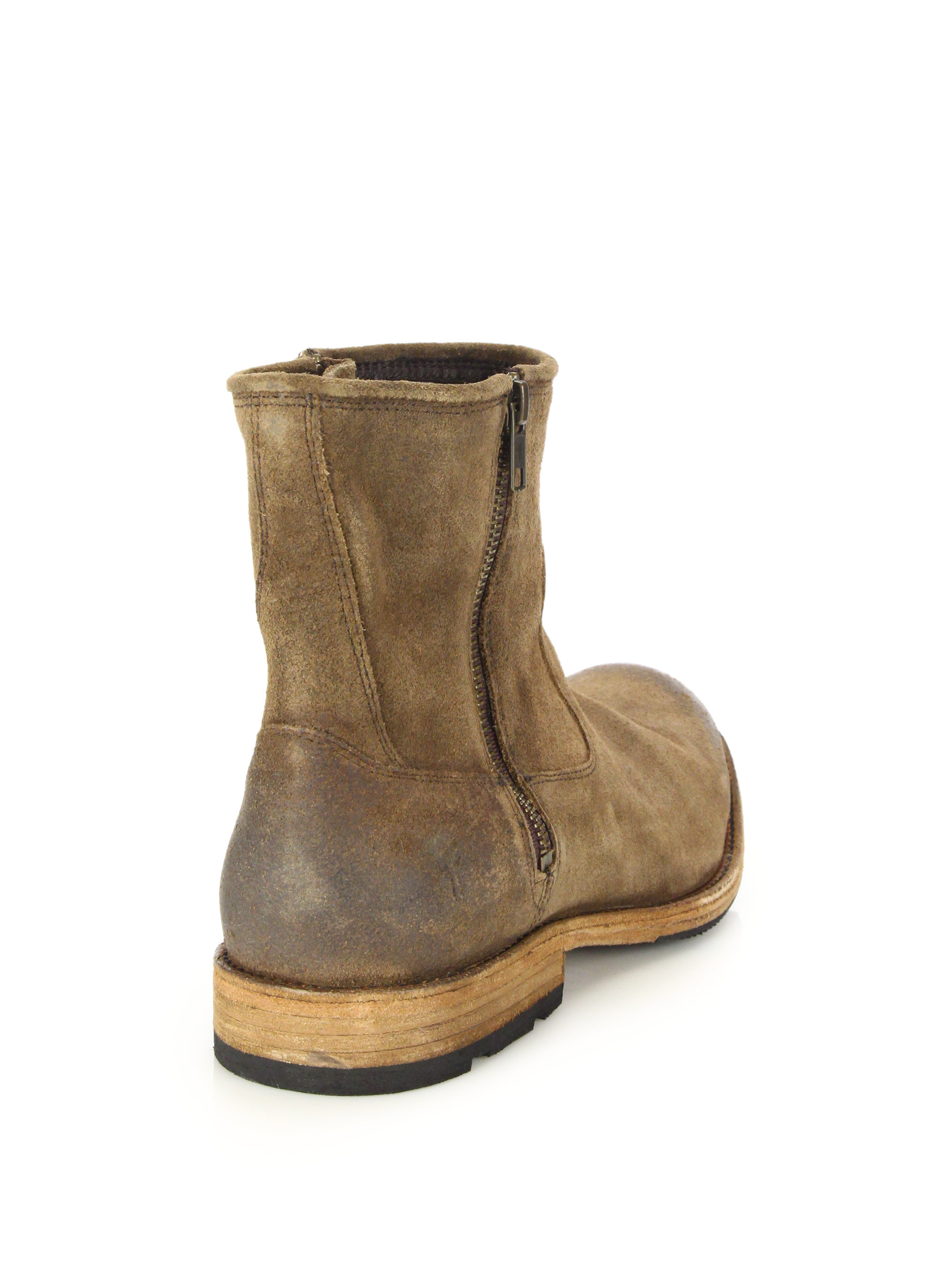 Lyst Frye Ethan Double Zip Leather Moto Boots In Brown