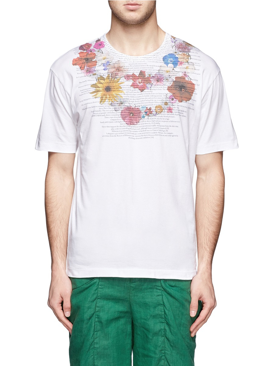 Kolor Floral Text Print Tshirt In White For Men Lyst
