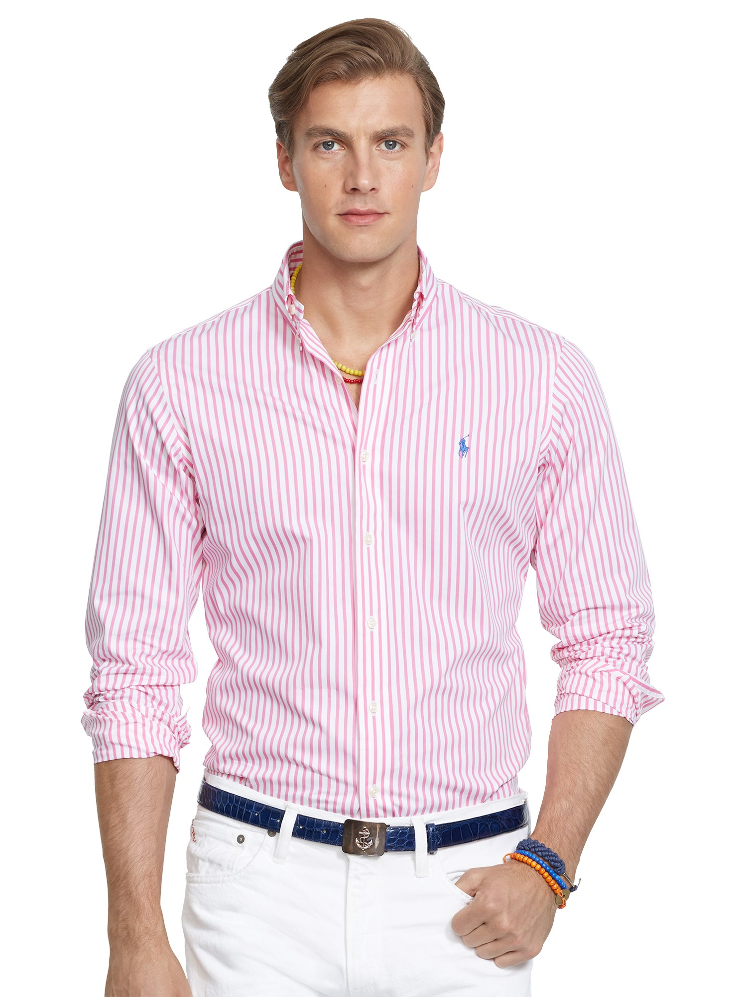 polo ralph lauren bengal stripe poplin shirt in pink for men lyst. Black Bedroom Furniture Sets. Home Design Ideas